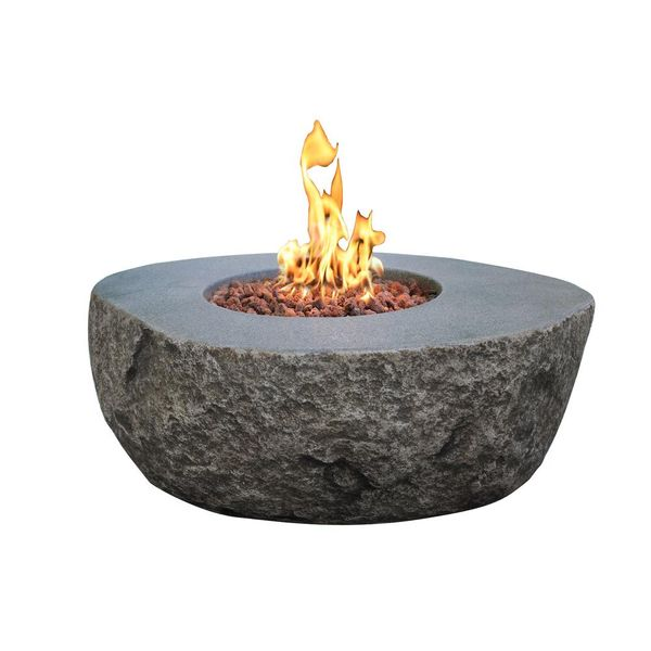 Boulder 35 in. x 16 in. Round Concrete Propane Fire Pit Table - $799
