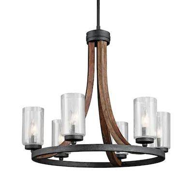 6-Light Stained Wood Rustic Seeded Glass Candle Chandelier - $395.50