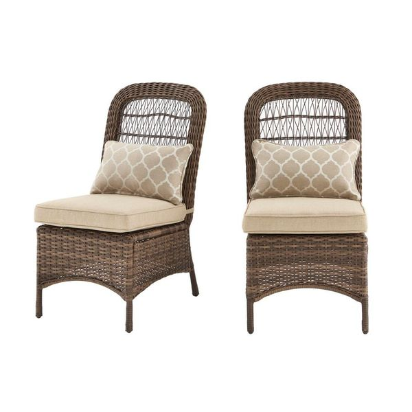 Wicker Outdoor Patio Armless Dining Chair w/ Tan Cushions (2-Pack) - $131
