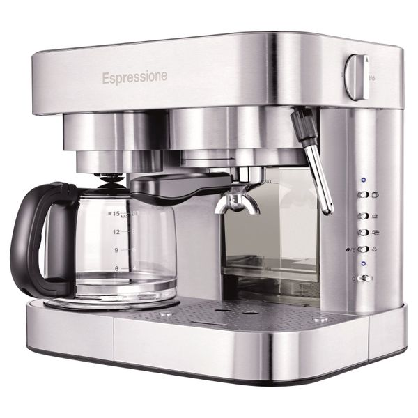 Stainless Steel Combination Espresso Machine & Coffee Maker - $126