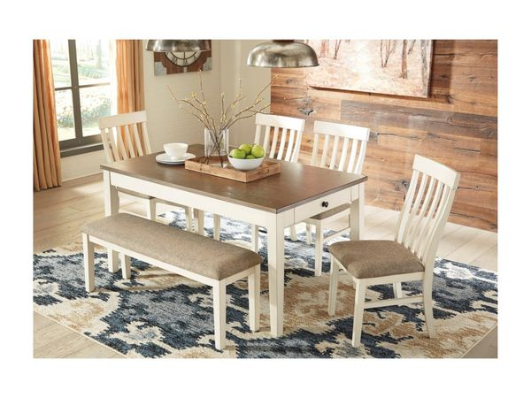 Bardilyn 6-Piece Two-Tone Rectangular Dining Table Set w/ Bench - $549
