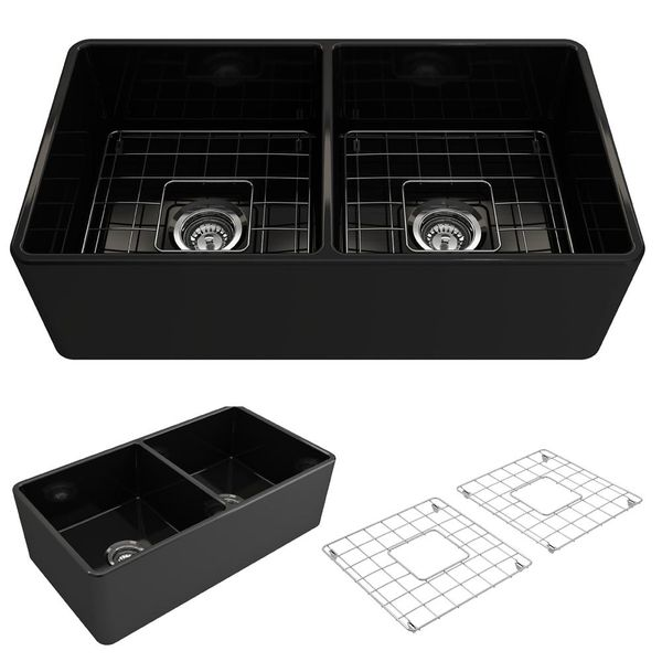 "Farmhouse Apron Front Fireclay 33"" Double Bowl Kitchen Sink in Black - $393"