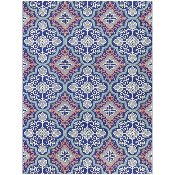 Star Moroccan Navy/Coral 8 ft. x 10 ft. Floral Indoor/Outdoor Area Rug - $89