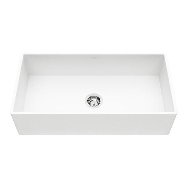 Farmhouse Matte Stone Composite 36 in. 0-Hole N/A Single Bowl Kitchen Sink with 1 Strainer in Matte White - $249