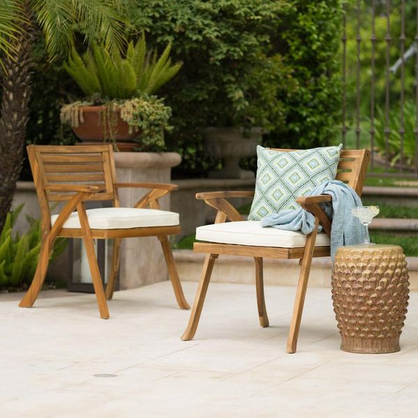 2-Pack Wood Outdoor Dining Chair with Cream Cushions - $78