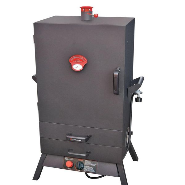 38 in. Vertical Wide Chamber Propane Gas Smoker 2 Drawer Access - $152