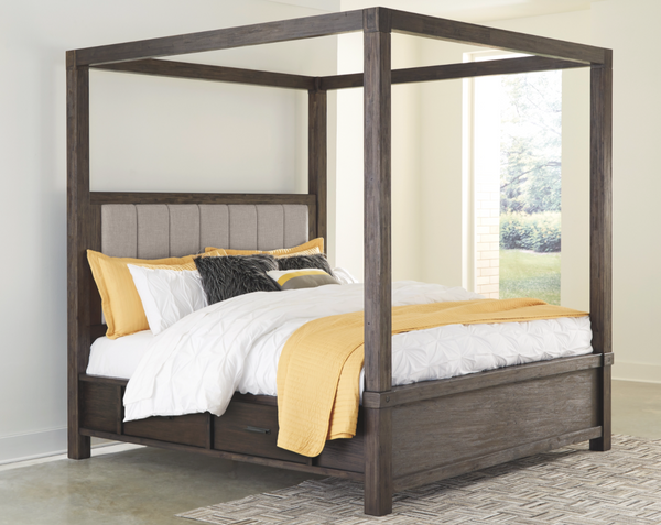 Dellbeck Queen Canopy Bed with 4 Storage Drawers - $899
