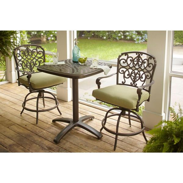 Hampton Bay Edington 3-Piece Patio Balcony Set with Celery Cushions - $299