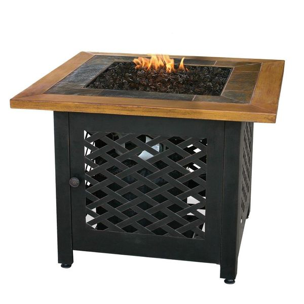 32 in. Square Slate Tile and Faux Wood Propane Gas Fire Pit - $181