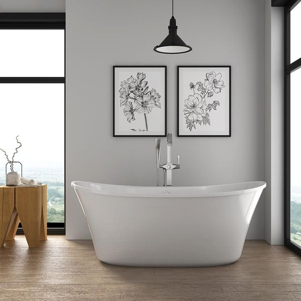 Glacier Bay Riley 69 in. Acrylic Flatbottom Non-Whirlpool Bathtub - $504
