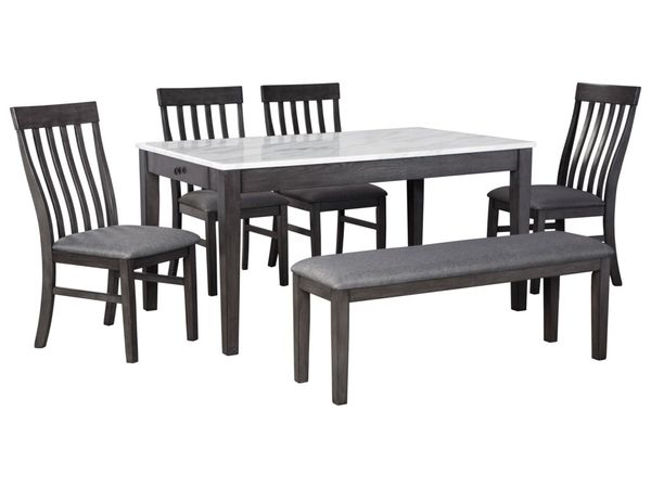 6-Piece Dining Set with Bench and Faux Marble Top Dining Table - $559