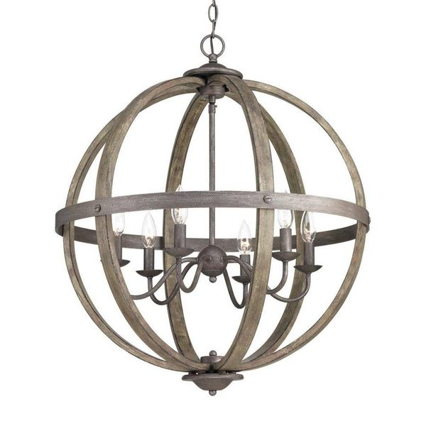 Keowee Collection 24.13 in. 6-Light Artisan Iron Orb Chandelier - $124