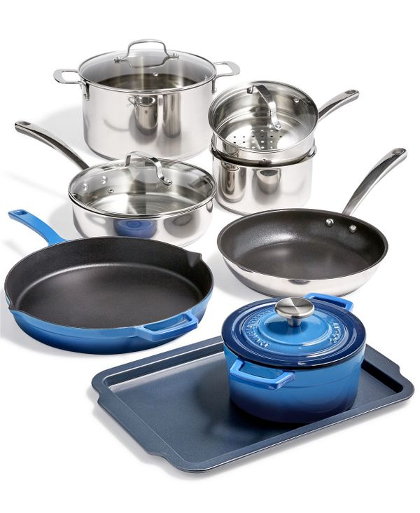 Martha Stewart Collection 12-Pc. Mixed Material Cookware Set - $250