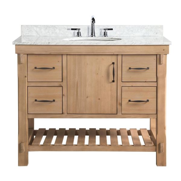 Marina 42 in. Single Vanity in Driftwood with Marble Vanity Top - $796
