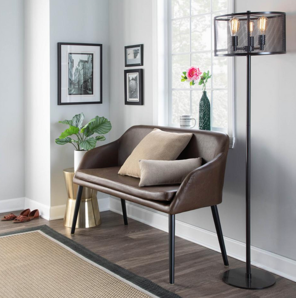 Shelton Espresso Faux Leather Contemporary Bench - $220