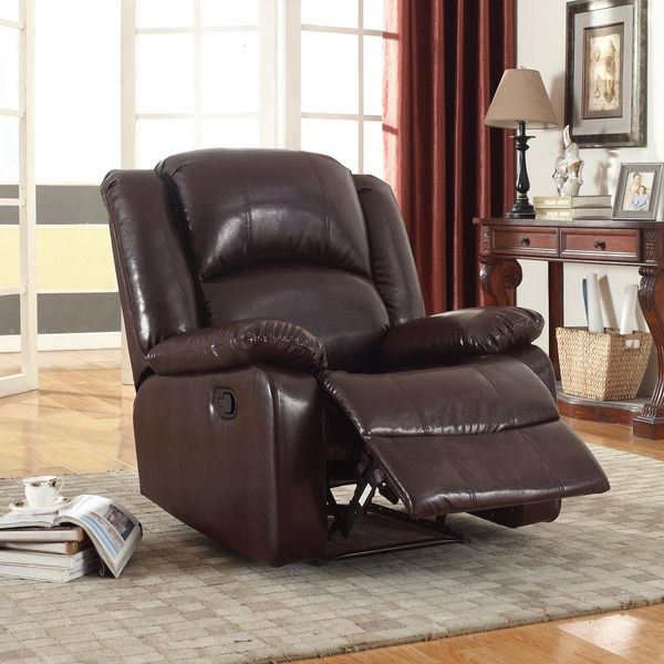 Brown Bonded Leather Glider Recliner - $135