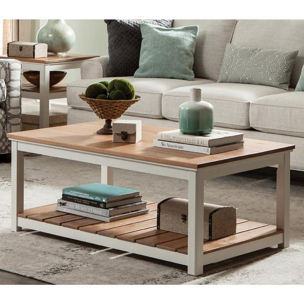 Savannah Ivory with Natural Wood Top 45 in. Wide Coffee Table - $140