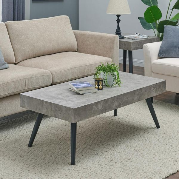 Handy Living Vlad Modern Concrete-Look Cocktail Table - $88