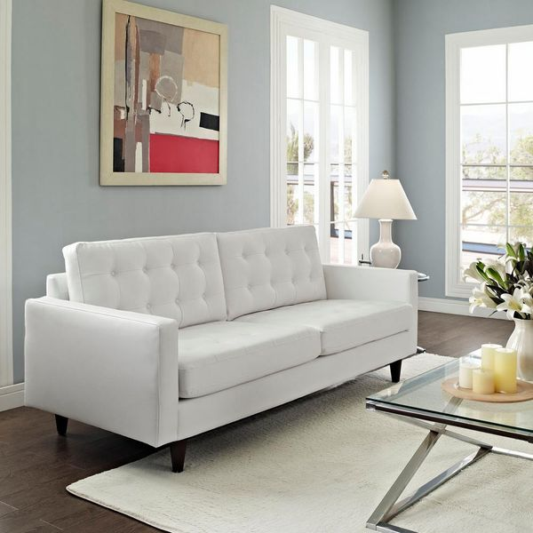Empress 84.5 in. White Faux Leather 4-Seater Tuxedo Sofa - $440