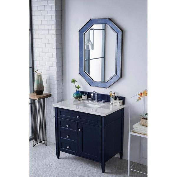Brittany 36 in. Single Vanity in Victory Blue with Marble Vanity Top - $1,019