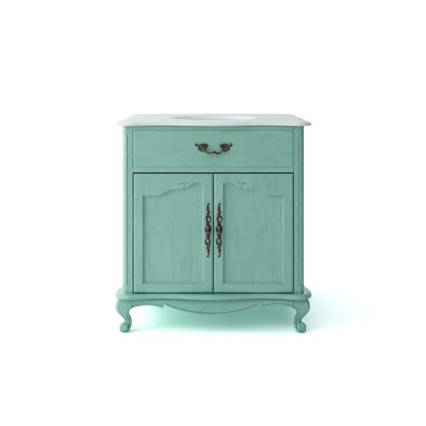 Provence 33 in. W x 22 in. D Vanity in Blue with Marble Vanity Top - $262