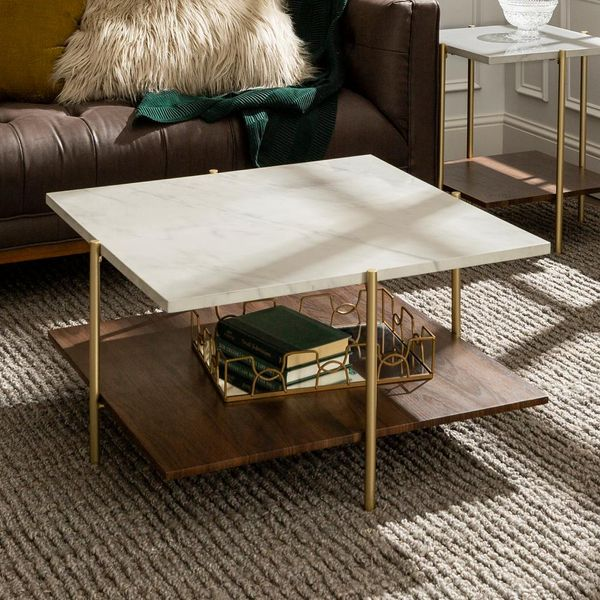 32 in. Marble and Gold Simone Square Coffee Table - $153