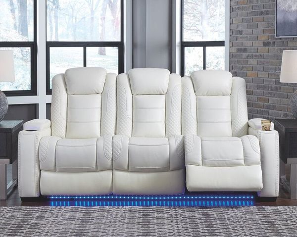 Party Time Power Reclining Sofa in White - $1,299