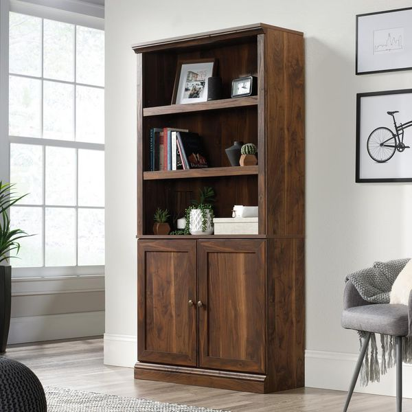 Sauder Grand Walnut 5-Shelf Bookcase with Doors - $123