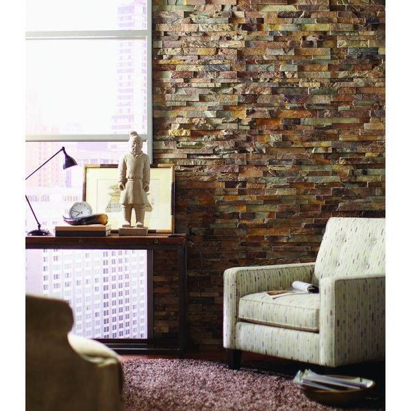 California Gold Ledger Panel 6 in. x 24 in. Natural Slate Wall Tile - $19
