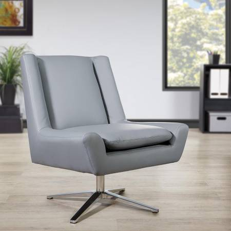 Grey Faux Leather and Aluminum Base Swivel Guest Chair - $115