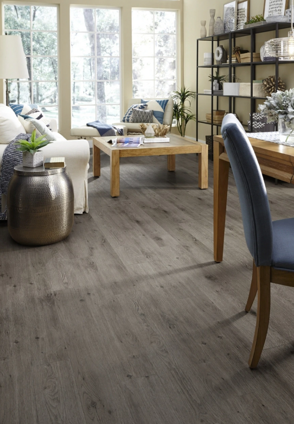 "4.5mm 7"" x 48"" Tribeca Cinder Luxury Click Lock Vinyl Flooring - $58"
