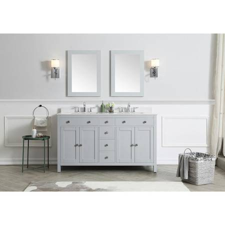Austen 60 in. W x 22 in. D Bath Vanity in Dove Grey - $584