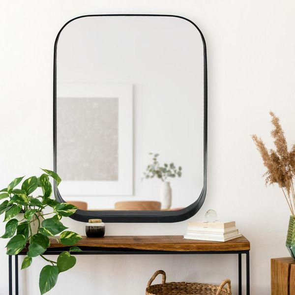 Medium Rectangle Black Modern Mirror with Rounded Corners - $84