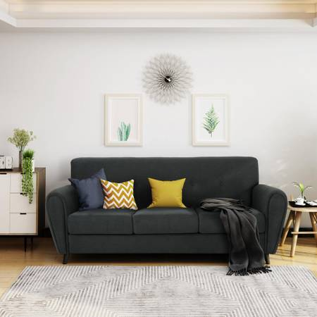 78.5 in. Dark Gray Polyester 3-Seater Lawson Sofa - $248