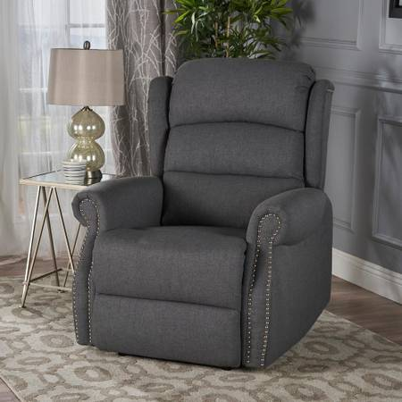 Dezzie Charcoal and Black Fabric Tufted Recliner - $214