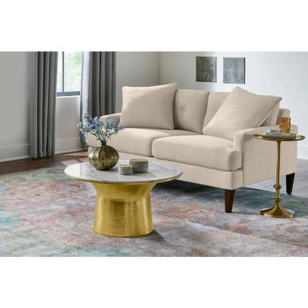 Cupertine 31 in. Gold/Marble Medium Round Marble Coffee Table - $214