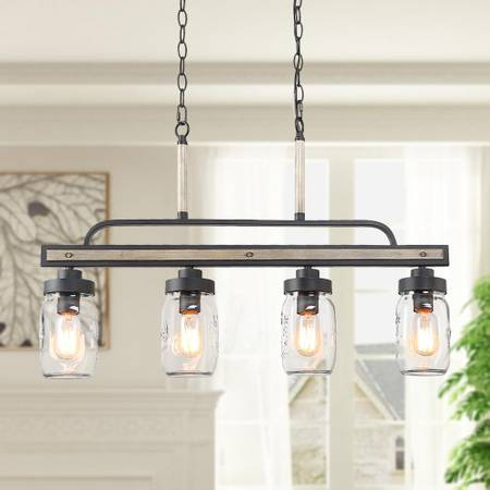 Araphi 4-Light Black Modern Farmhouse Wood Chandelier - $100