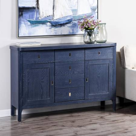6-Drawer, 2-Door Indigo, Metal Credenza - $550