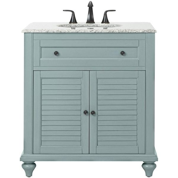 Hamilton Shutter 31 in. W x 22 in. D Bath Vanity in Sea Glass - $538