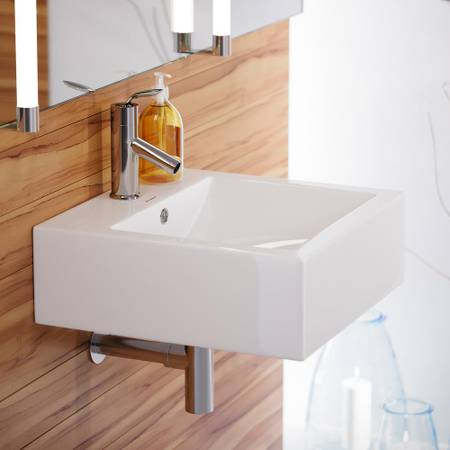 Voltaire 18 in. Square Ceramic Vessel Sink in Glossy White - $44