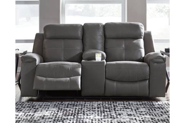 Ashley Furniture Jesolo Reclining Loveseat with Console in Dark Gray - $629
