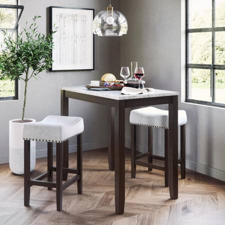 Viktor Three Piece Dining Set Kitchen Pub Table White Marble Top - $129